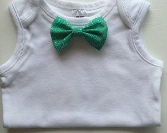 Changeable bow tie onesie.
