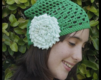 Green Hat in crochet with fabric flower - Green cotton crochet beanie with flower fabric