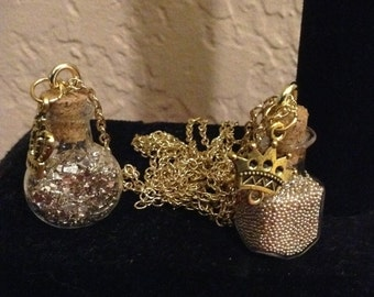 Gold caviar crown necklace