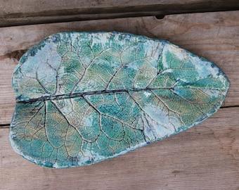 Large ceramic leaf platter, turquoise Plateau, turquoise Home Decor, Ceramic Leaf Dish, Leaf Platter, burdock leaf Arctium lappa, leaf plate