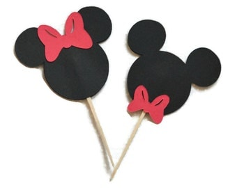12 CT - Mickey & Minnie Cupcake Toppers || Gender Reveal || Disney || Bowtie