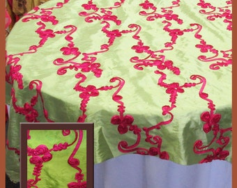 "Lime / Fuchsia Ribbon Taffeta Overlay Wedding and Party Supplies 58"" X 58"""