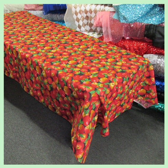 Apple Print Cotton Rectangle Tablecloth 58 X 108 Inches
