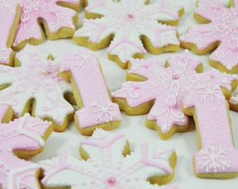 Winter Wonderland Onederland Snowflakes and number One Cookies - cute pink sugar cookies - perfect for Girl First Birthday Party