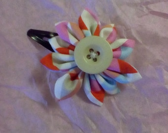 Flower fabric hair clip