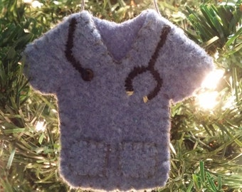 Scrub Shirt tree ornament (bl)