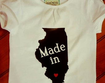 Made in Illinois onesie or shirt