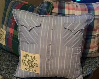 Memory Pillow-in honor of pillow, memory gift, gift for parents, gift for friend, shirt pillows, memory shirt pillow cover