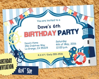 "Birthday Invitation, Printable, 6x4"" Size, Sea Birthday Party, Fillable PDF, Instant PDF Download"