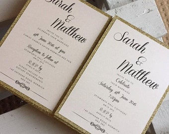 The 'Aria & Toby' Bundle invitation GOLD - Gold Glitter Wedding invites / Gold Glitter invitations / Glitter wedding invites/Glitter Invites