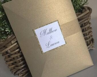 Gold Wedding Invite / Gold Wedding Invitation / Glitter Wedding Invite / Gold Glitter Wedding Invitations / Glamorous Wedding Invites
