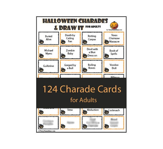 Wedding Charades Ideas: Halloween Charades & Draw It For Teens And Adults Printable