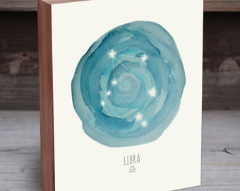 Libra Constellation - Libra Print - Horoscope Art - Constellation Print - Wood Art Print