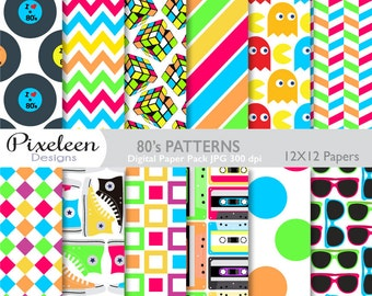 80's Digital Paper, Eighties Digital Paper, chevron, polka dots, stripes, scrapbooking, invitations, paper crafts, INSTANT DOWNLOAD