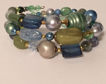 Bracelet- Blue, Teal and Green 3-wrap bracelet