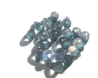 8x12mm Grey Quartz faceted Drop shape, Half drill briolette for Earrings, Pack of 2 pc