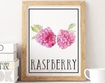 Printable wall art, kitchen decor, raspberry print, raspberry wall art, raspberry decor, watercolour raspberry,  fruit print, kitchen poster