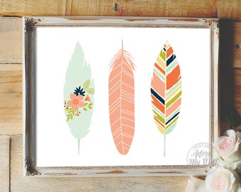 Feather print, feather art, feather wall art, feathers, instant download, nursery feathers, tribal feathers, feather printable, wall art