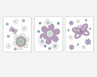 Baby Girl Nursery Canvas Wall Art Lavender Purple Teal Butterfly Flower Modern Floral Baby Girl Nursery Canvas Decor Art