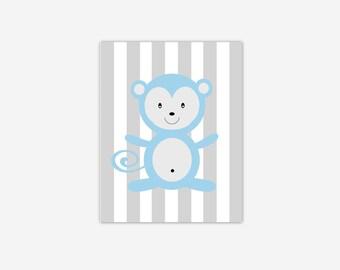 Baby Boy Nursery Wall Art Blue Gray Grey Monkey Canvas Prints Baby Boy Girl Nursery Decor Safari Jungle Zoo Animals New Baby Shower Gift