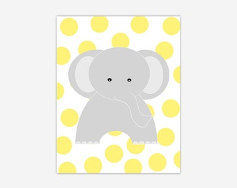 Baby Nursery Wall Art Yellow Gray Grey Elephant Canvas Prints Baby Boy Girl Nursery Decor Safari Jungle Zoo Animals New Baby Shower Gift