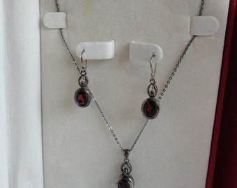 Sterling Silver and Garnet, Garnet Necklace and Earrings Set