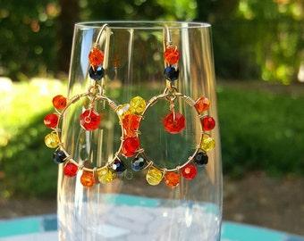 Sale! Earrings, 14kt Gold filled, hoops,  faceted, drop earrings, colorful, blue crystals, browns, orange,  light weight earrings, elegant
