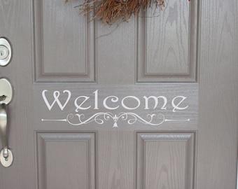 Welcome Door Decal - Door decal - Front Door decal - welcome door decal - Home Curb Appeal - Welcome vinyl decal