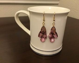 Beautiful swarovski purple crystal teardrop earrings