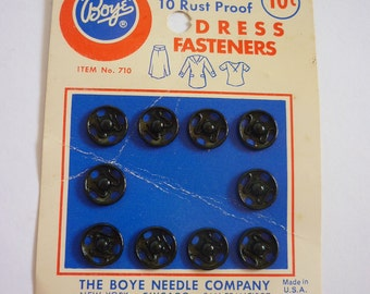 1940s BOYE Snaps NOS Made in U.S.A. Black #1 Vintage Sewing Notions