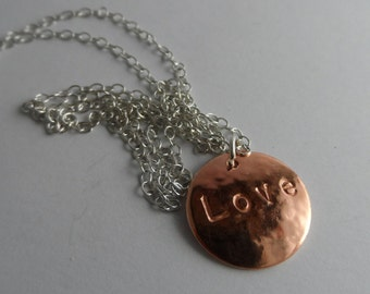 PN12- Textured copper disc and chain