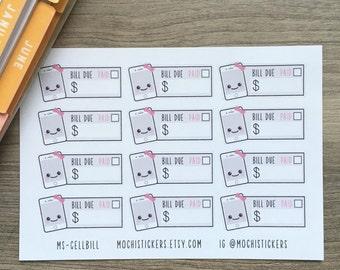 Kawaii Cellphone Bill Planner Stickers (MS-CELLBILL)