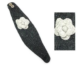 Hand Knit Wool Headband, Womens Winter Earwarmer - Charcoal & Natural - 1735Y