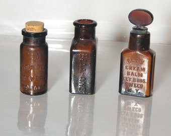 Three Brown Bottles Patent Medicine