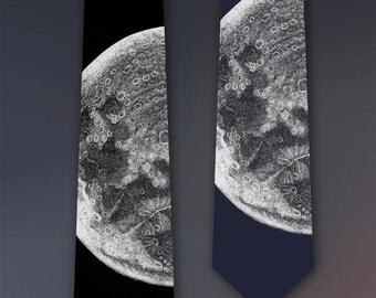 Moon Art - Moon Tie - Birthday Gift for Men - Men's Gift - Necktie - Screen Printed Neck Tie
