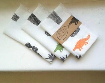 Cacti Hand-Printed 100% Linen Fringed Tea Towel Black on White Monotone Kitchen Cloth