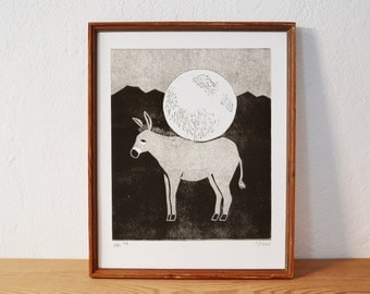 donkey · original linocut · Limited Edition · DIN A4