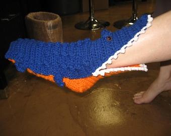 Crocheted Florida Gator Socks, blue and orange, gator slippers