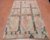 "Turkish Vintage Kilim rug 3'1"" x 4'9"" Pale Color Vegetable Dyes Turkish Anatolian Kilim Turkish Bohemian Kilim Rug"