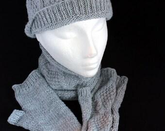 Silver Gansey Pattern Hand knitted accessories set