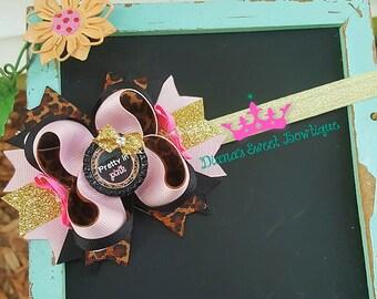 Cheetah print hair bow, cheetah hair bow, pink hair bow, princess hair bow, pink and black hair bow, pretty in pink,  sassy hair bow,