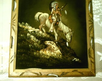 Vintage Velvet Felt Native American Indian On Horseback Painting Wood Frame