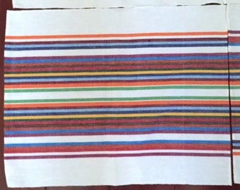 Vintage Woven Placemats Southwestern White Striped Multi-colored Set Lot of 4