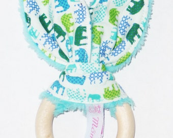 Rattle ring teething Bunny ear elephant - wooden Baby Rattle - wooden baby teething ring