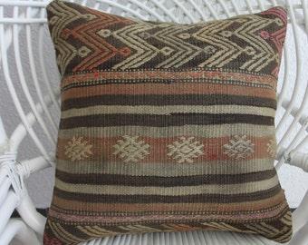 "pastel striped kilim 16"" x 16 bohemian pillow case 16x16 creation lumbar kilim pillow kilim throw pillow cushion hippie pillow 402"