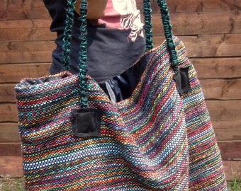 Handwoven Rainbow Color Handbag Shoulder Tote