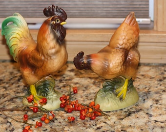 Vintage rooster and hen figurines