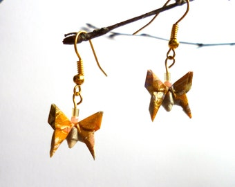 Origami Butterfly Earrings, Peach and Gold, Gold Plated Earring Hooks