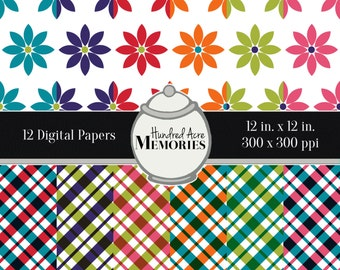 Digital Papers, Bright Plaids and Flowers, 12 inches x 12 inches, 300 ppi (dpi), Scrapbooking and Craft Papers, Downloadable and Printable