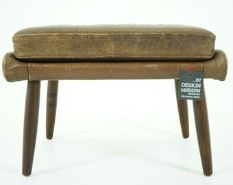 306-037 Danish Mid Century Modern Leather Footstool Stool Ottoman